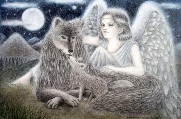 An angel, wolves and the moon