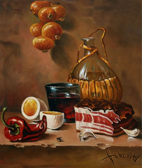 still life with bacon