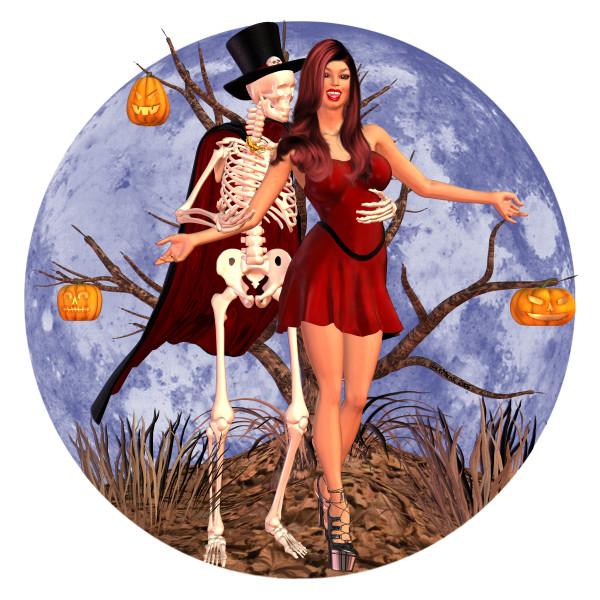 Lunya - Halloween Beauty dancing with skeleton