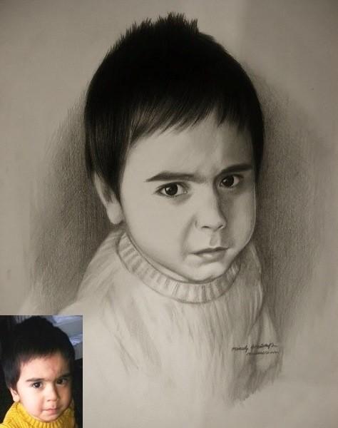 resimser karakalem çocuk çizimi