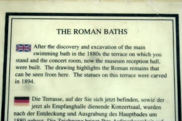 ROMAN BATH PLACARD, BATH UK