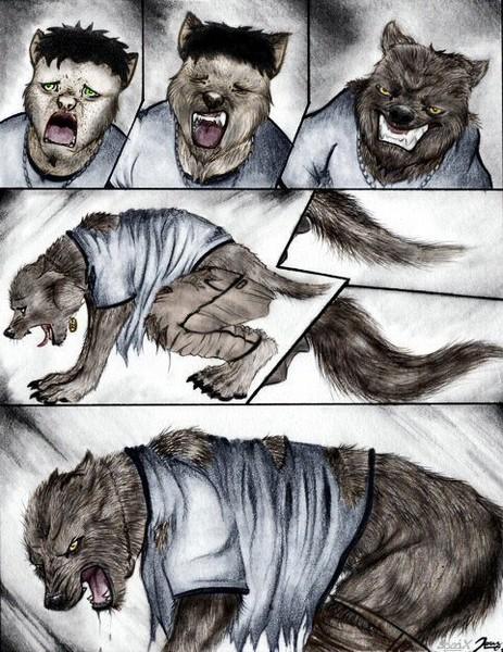 Colored Cartoon Werewolf Transformation page 2