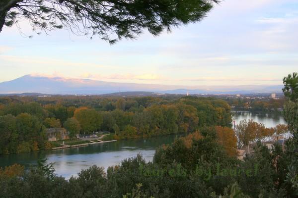 Rhone River Panorama from Doms Rock in Avignon