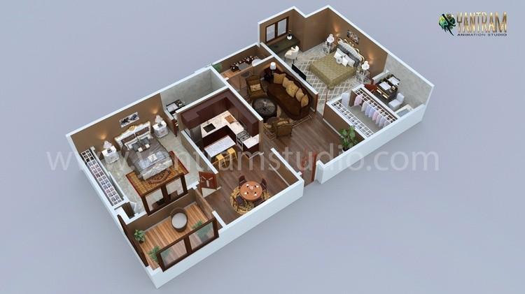 Modern Residential 3d floor plan design with 2 bedrooms, Boston - Massachusetts