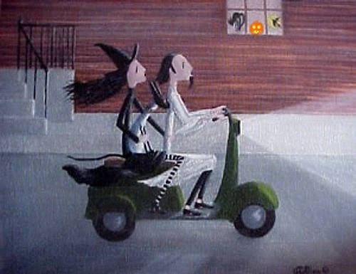 A WITCH A CAT AND A GHOST ON A SCOOTER