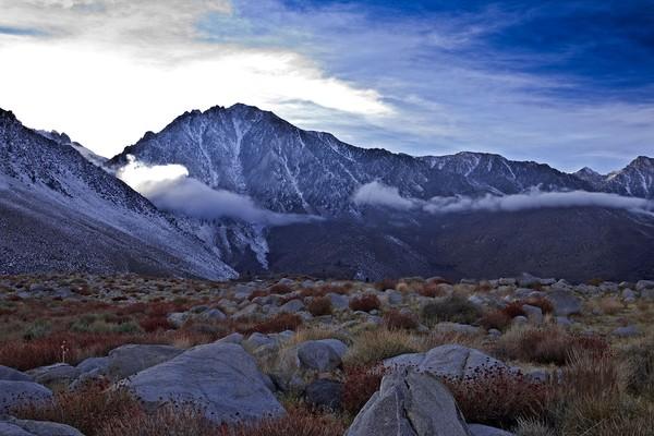 High Sierra Peaks Lit by Clouds
