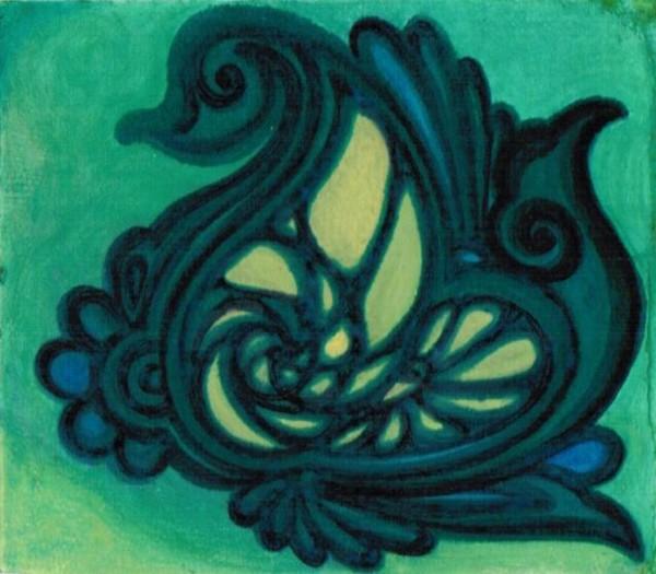 green-swan-motif