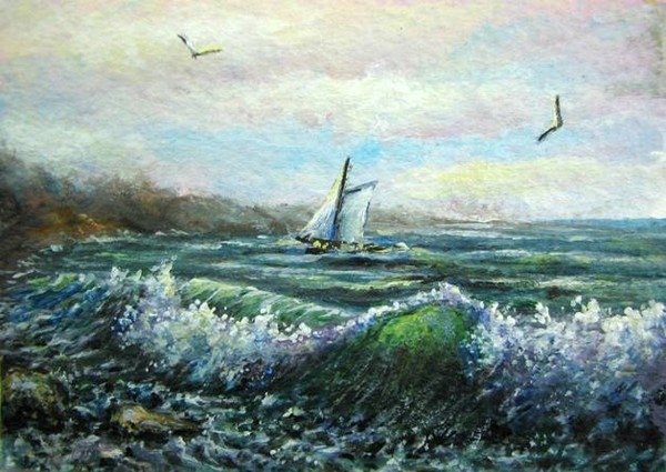 Sailing aceo painting