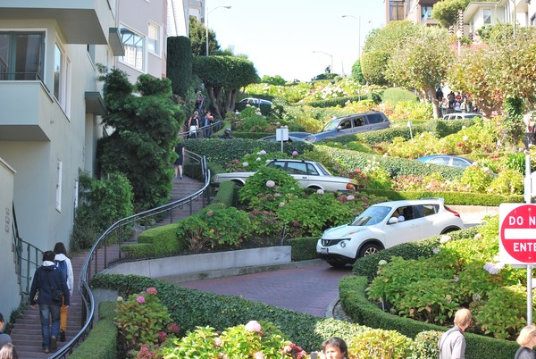 Driving down Lombard St.