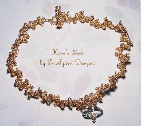 Hope's Lace- OOAK beadwoven bridal necklace