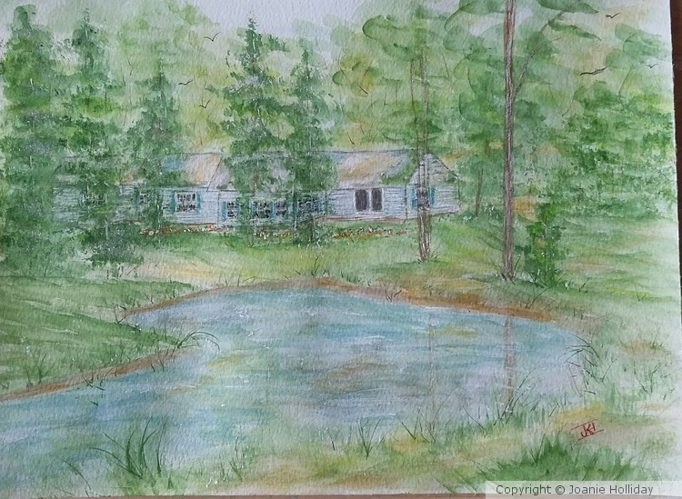 MY HOME IN MY WOODS. WATERCOLOR
