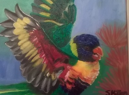 Tropical Bird Oil Painting