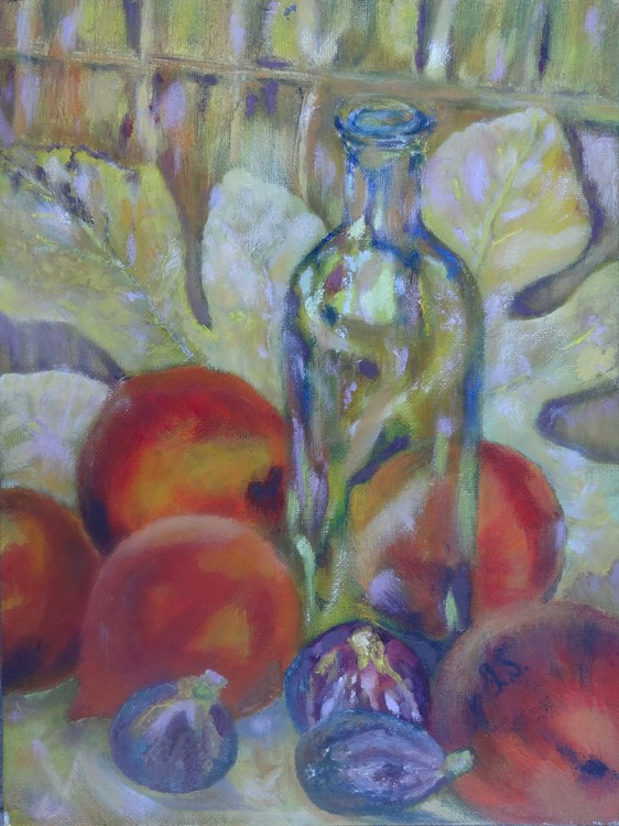 Fruit and bottle