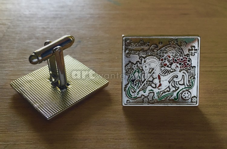 The cufflinks with saint George (silver version)
