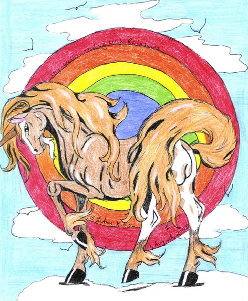Sky Walker riding with rainbows