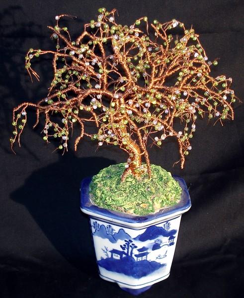 Beaded Bonsai Beaded Wire Tree Sculpture