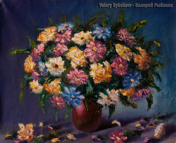 Lush bouquet of flowers - new painting
