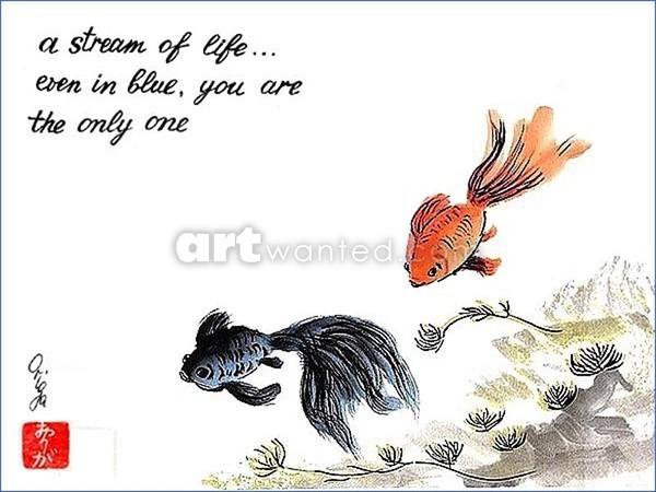 A stream of life. Haiga.