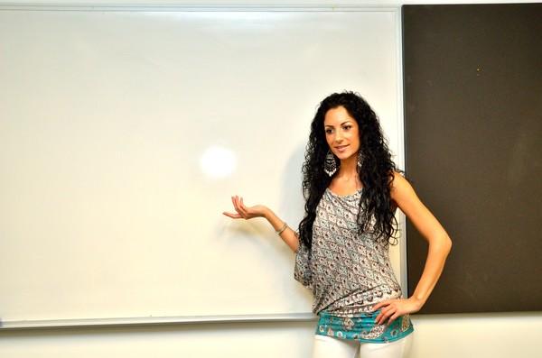 Brunette lecturer