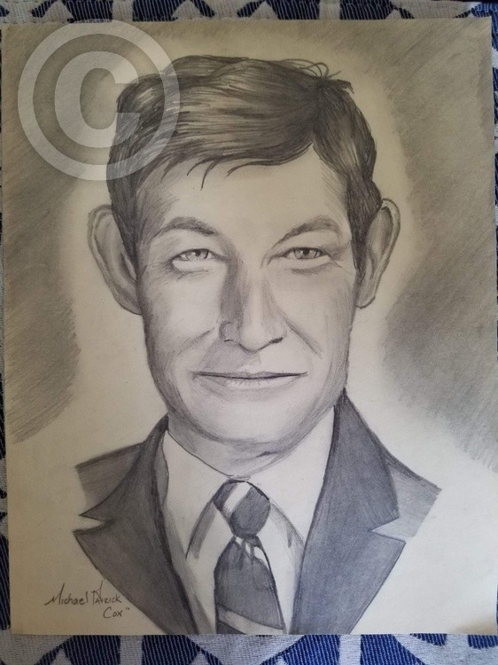 30 min Portrait of Kenneth Cox by 16 yr old Michael Patrick Cox, one pencil, & Steak knife Sharpener