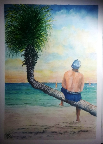 Relaxing on the Coconut Tree SOLD