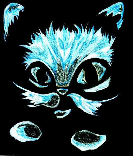 Neon Blue Cat Head