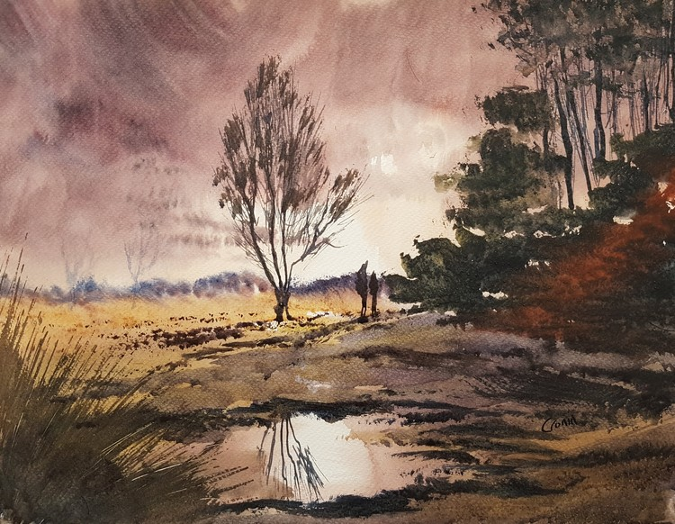 'Time for Home, Sutton Park' Watercolour Painting