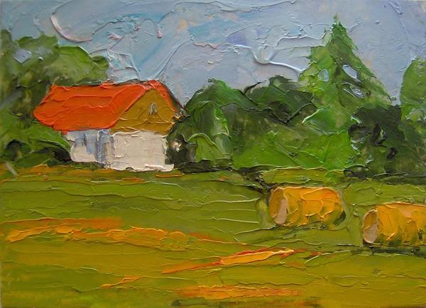 Baled Hay and Barn