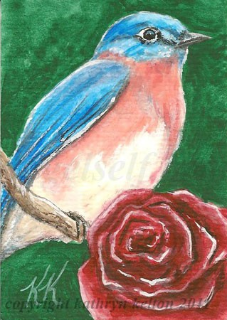 Bluebird and Rose ACEO