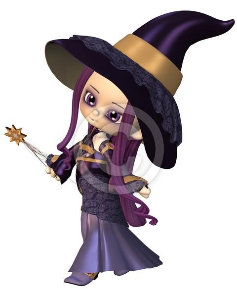 Cute Toon Female Wizard