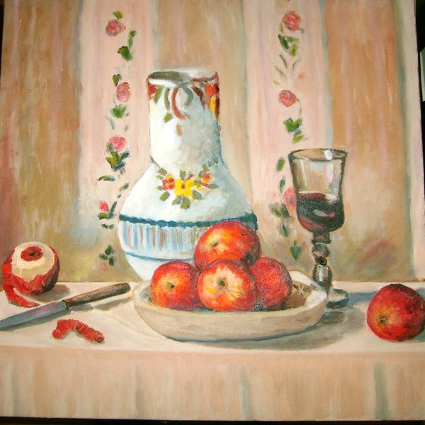 Square Pissarro Apples and a Pitcher