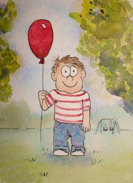 Illustration: Boy at Park with Balloon