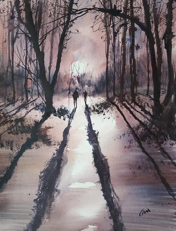 Winter Sun, Sutton Park Watercolour Painting by Steven Cronin