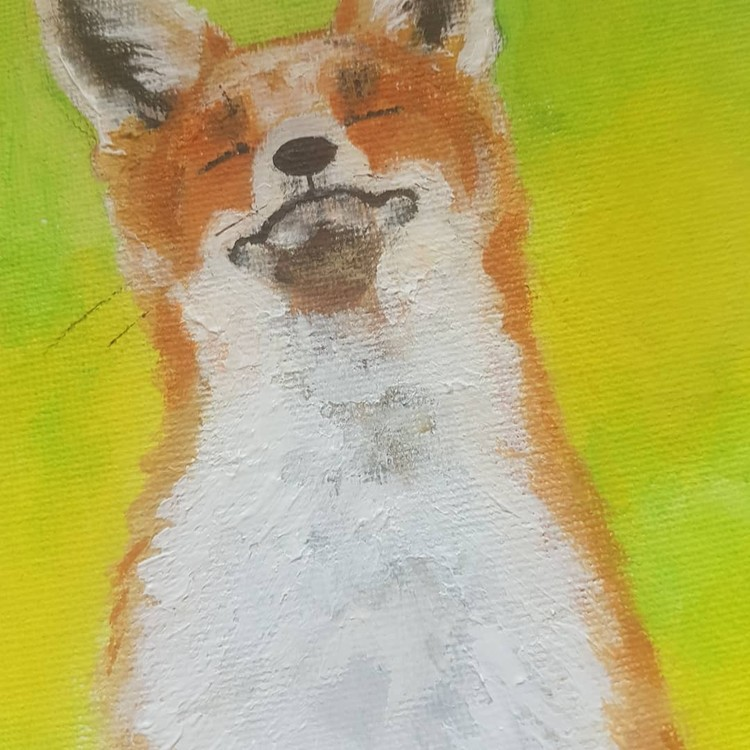 Red fox in acrylics on small canvas board 2019 (final piece angle 2)