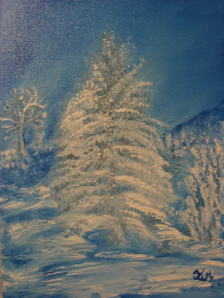 Blue Winter Series 9 - Snowcovered Tree