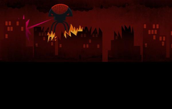 Alien attacking city