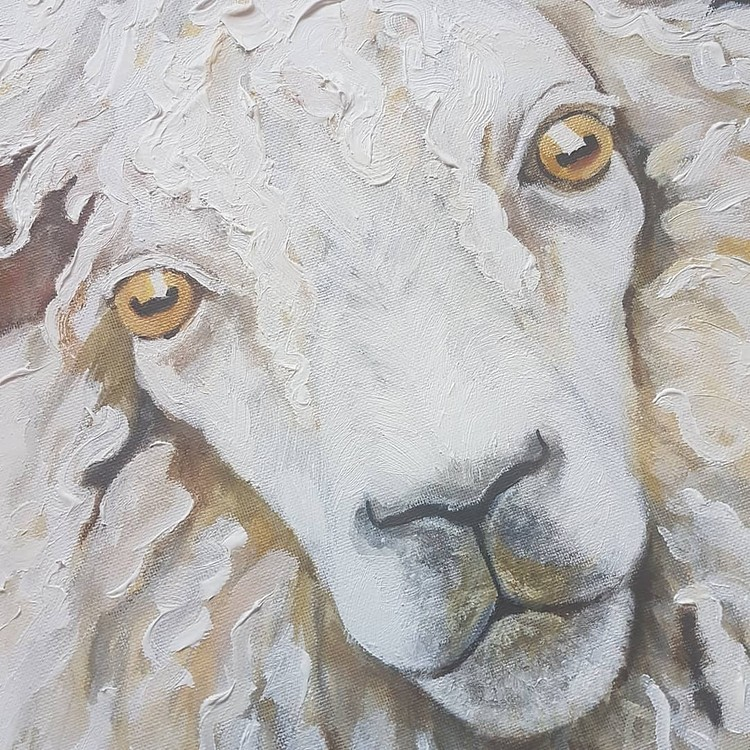 white woolly sheep in acrylics on large canvas 2019 (angle 2)