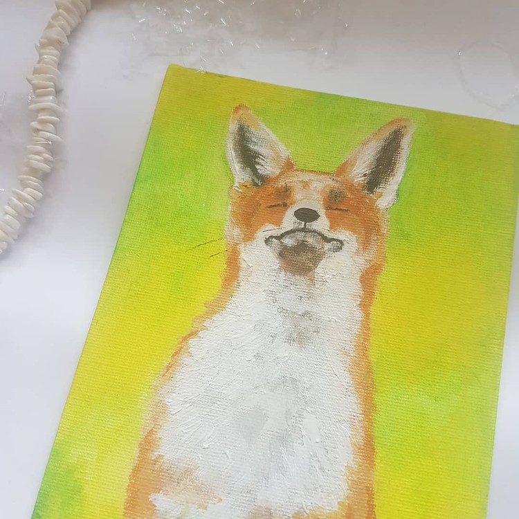 Red fox in acrylics on small canvas board 2019 (final piece angle 3)