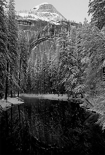 North Dome Reflections in Black and White