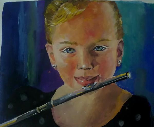 the girl palying flute