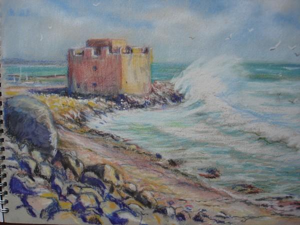Breezy beach in Cyprus(Sketchbook)