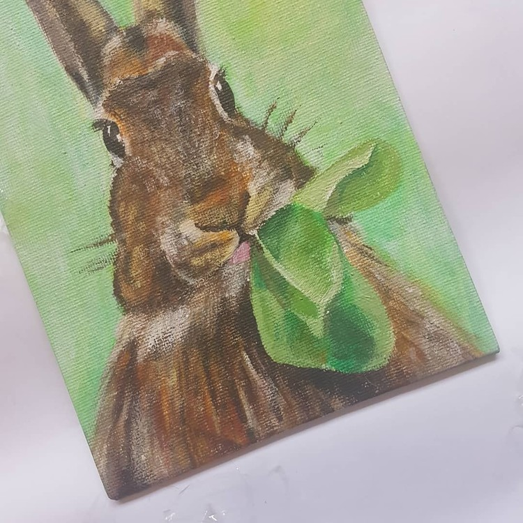 brown rabbit in acrylics on small canvas 2019 (angle 2)