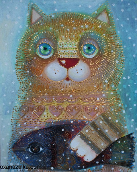 Winter and cat