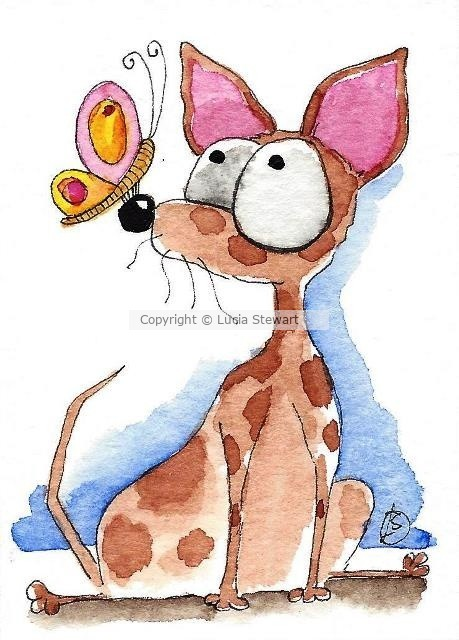 Brown chihuahua and Butterfly