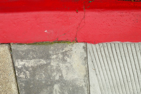 Red curb with three aggregates