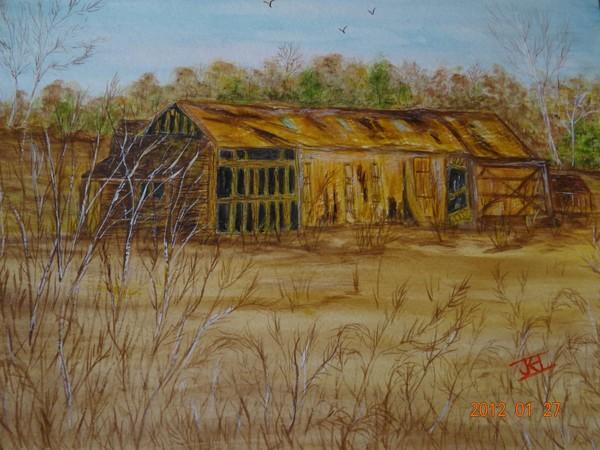 Old England Barn- Watercolor