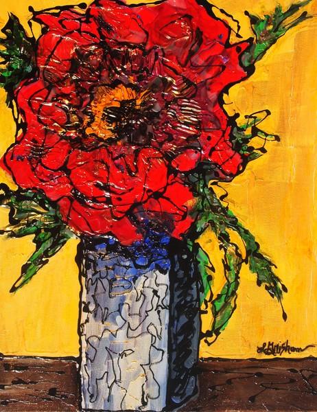 Red Flower Square Vase