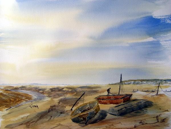 Near Boatyard at Uphill, Somerset Watercolour