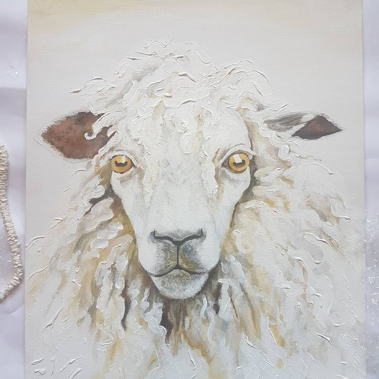 white woolly sheep in acrylics on large canvas 2019