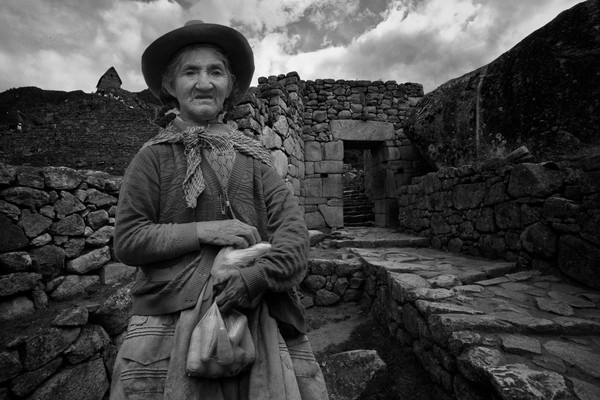 Andean Woman and Machu Picchu